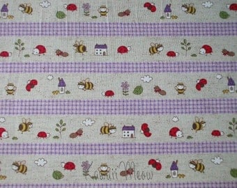 SALE - Cotton Linen Bee Ladybug Border Print Purple - Fat Quarter (ko1215)