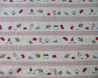 SALE - Cotton Linen Bee Ladybug Border Print Brown - Half Yard (ko1215)