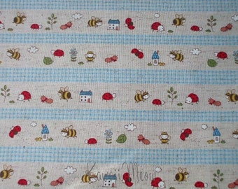 SALE - Cotton Linen Bee Ladybug Border Print Blue - Half Yard (ko1215)