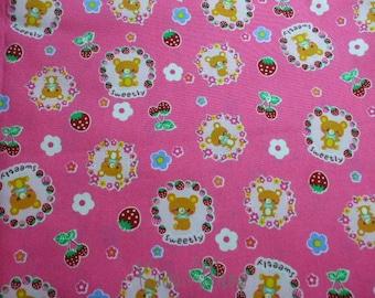 SALE - Sweetly Bear on Pink - Half Yard (ma1214)