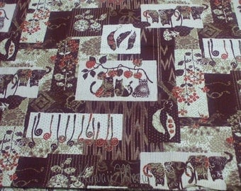 SALE - Cute Cats Village Dark Red - Half Yard (ki0610)