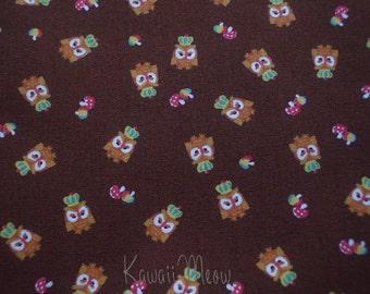 SALE - KOKKA Cute Owls Crown on Brown - Half Yard (11u0717)