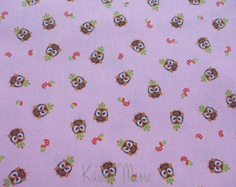 SALE - KOKKA Cute Owls Crown on Pink - Half Yard (11u0717)