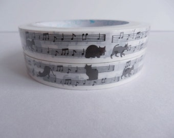 Kawaii Deco Tape - Cats  Music  - 1 pc / 1.5cm wide x 25m (0.7in x 27 yards)  (PN1414)