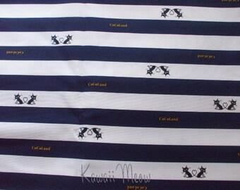 "SALE / Scrap - CoCoLand Heart Cats Navy - Half Yard 110cm/43""W x 49cm/19""L (ta1210)"