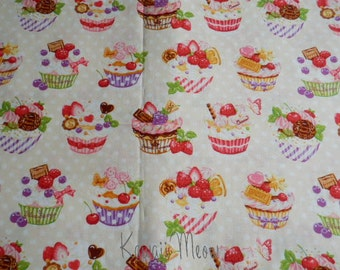 SALE - Sweets Cup Cake Polka dots on Beige - Fat Quarter (12i0603)