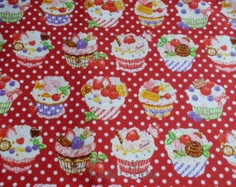 "SALE - Scrap /  Sweets Cup Cake Polka dots on Red - 108cm/42.5""W x 70cm/27""L (12i0603)"