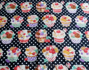 SALE - Sweets Cup Cake Polka dots on Black - Half Yard (12i0603)