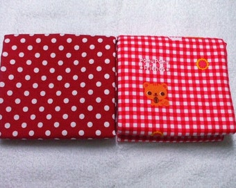SALE / Japanese Fabric - Pomu Pomu Friends Squirrel and Polka Dots Half Yard Set