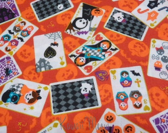 SALE - Halloween Cards on Orange - Half Yard (12i0615)