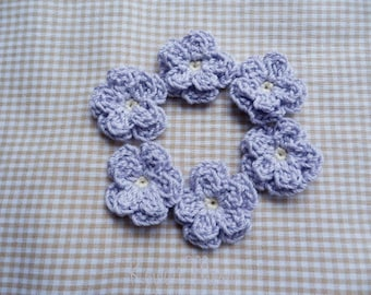 Kawaii Crochet Applique Motif Mini Flowers Set of 6 -Lilac-