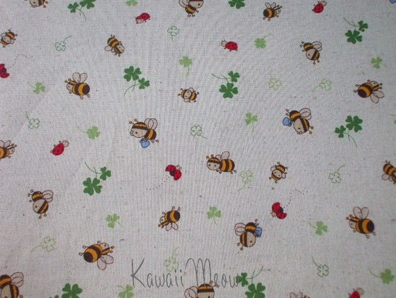 "Kawaii Japanese Fabric - Cotton Linen Clover Bee on Natural - 1 Yard 43""W x 35""L (ko1215)"