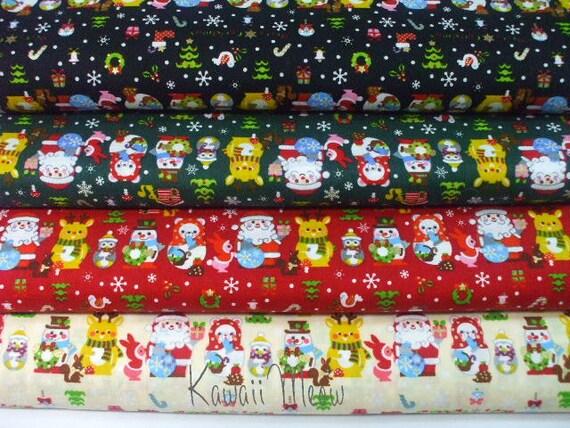 Kawaii Japanese Fabric - Christmas Border - 4 Fat Quarter Bundle Set (ta0627)