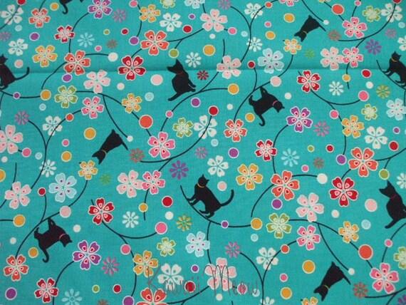 Beautiful Japanese Fabric - Sakura Cats on Green - Fat Quarter (12nu0211)
