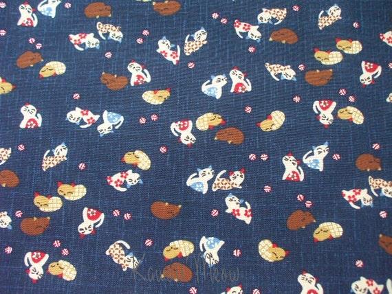 """Scrap / Japanese Fabric - Kawaii Cats -110cm/43""""W x 49cm/19""""L  (12ki0909)"""