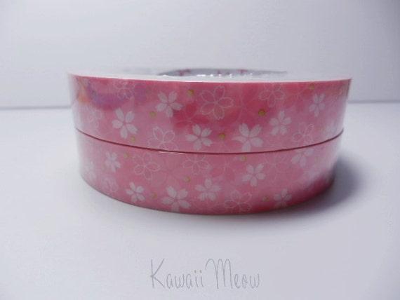 Kawaii Deco Tape - Cherry Blossoms Sakura - 1 pc / 1.5cm wide x 25m (0.7in x 27 yards) (91655)