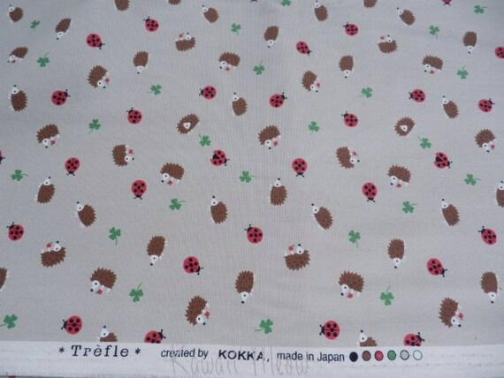 "SALE Scrap - Hedgehog Ladybug on Beige - 110cm/43""W x 60cm/23.6""L (11i1227)"