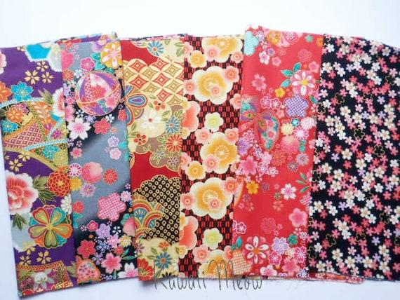 Japanese Fabric - kimono Scraps 6 pieces (439)