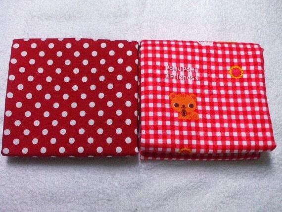 SALE / Japanese Fabric - Pomu Pomu Friends Squirrel and Polka Dots Half Yard Set