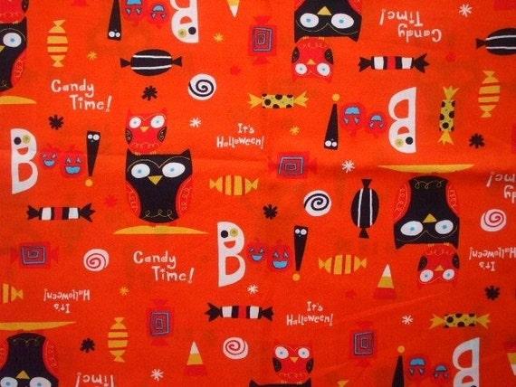 SALE Kawaii Japanese Fabric - Halloween Owl - Half Yard