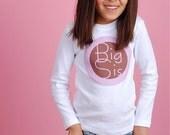 BIG SISTER SHIRT Short or Long Sleeve, Mod Pink and Brown Circles, Free Gift Wrap