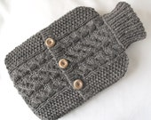 Pebble grey hot water bottle sweater / cover - 100 per cent  Scottish undyed wool