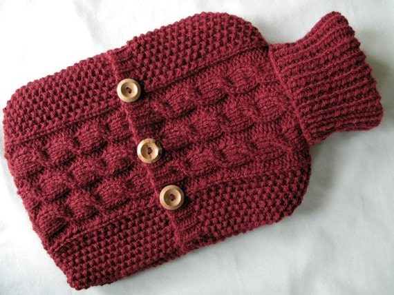 Hot Water Bottle Sweater / Cover - maroon red