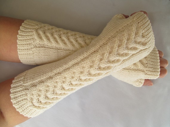 Hand Knit Fingerless Gloves / Wrist warmers - 100 per cent Merino Wool - A perfect gift -  soft cream
