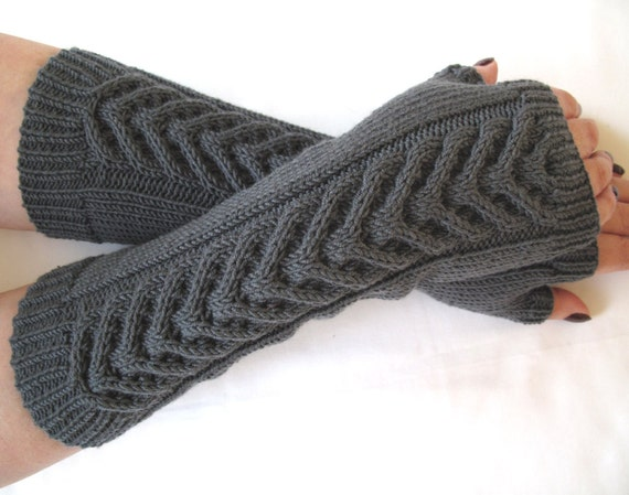 Slate grey fingerless gloves / wrist warmers - 100 per cent merino wool- OOAK- New Colour