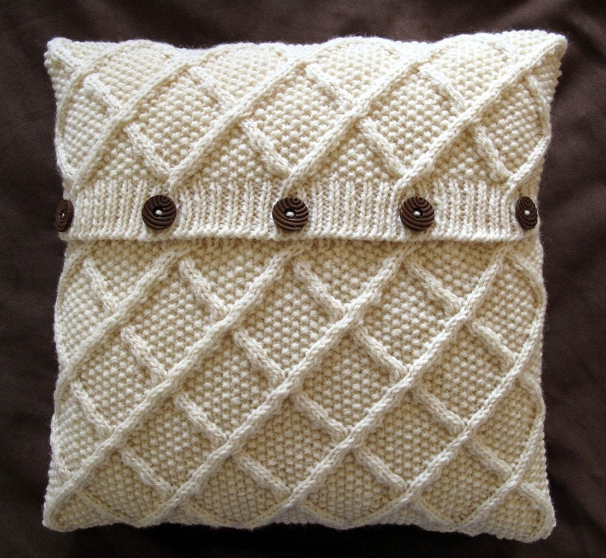 Items similar to Classic Trellis Design Aran Cushion Cover - Cream. on Etsy