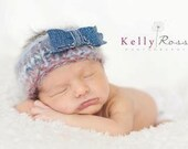 "Great Old Jeans ""Bow Tie"" Hand Knit Newborn Headband"