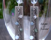 Free shipping  Brushed metal rectangles with chain,  water blue Swarovski crystals  and Czech glass, sterling ear wires