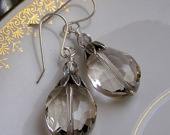 Free shipping Luxury champagne faceted oval crystal earrings sterling silver