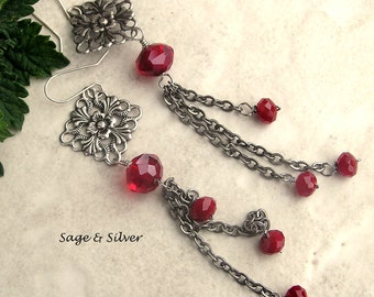 Free shipping Extra long faceted ruby red glass earrings on antique silver filigree and chains