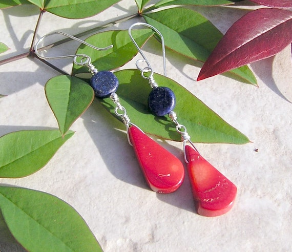 FREE SHIPPING ETSY Happy Dancers  genuine lapis and red coral sterling earrings free shipping