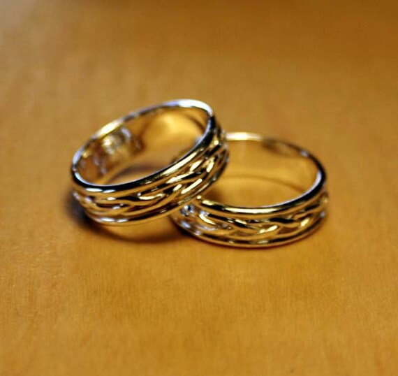 2 Celtic Braided Band Rings (Matching Pair)