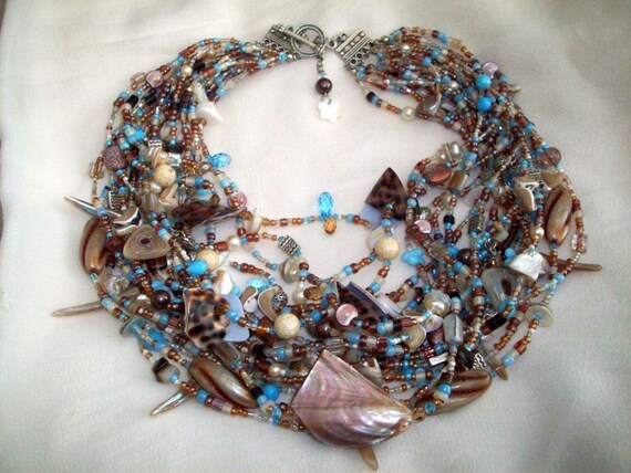 OCEAN SOUL -  Abalone, Mother of Pearl, Shell w/seed beads - Treasure Necklace - SALE