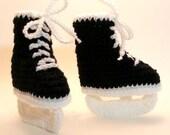Black Hockey Skates Crochet Baby Booties 0-6 Months