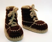 Brown Work Boots Crochet Baby Booties 0-6 Months