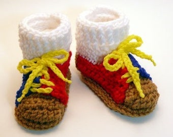 Bowling Shoes Crochet Baby Booties 0-6 Months