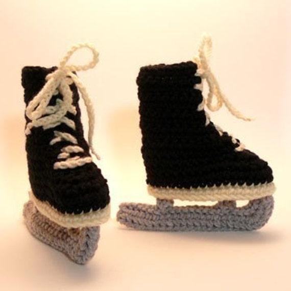 Black Ice Skates Crochet Baby Booties 0-6 Months