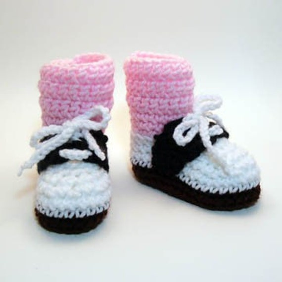Saddle Shoes with Pink Socks Crochet Baby Booties 0-6 Months