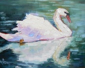 SWAN, 6X8, Original Oil Painting, Pewter Frame, Reserved for Heather