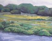 "Landscape Oil Original  Marsh Painting, 6x8"", OOAK, ""Still There"" Reserved for Lauren"