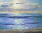 "Impressionist Seascape Oil Painting with Sunrise,  20x24"" Seascape, Painting on Sale"