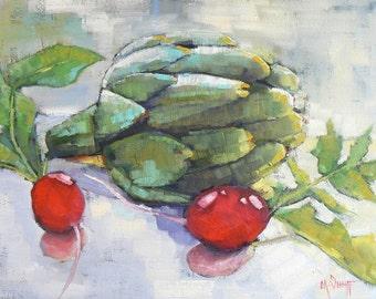 "Artichoke Oil Painting, Vegetable still life, 9x12"" Still life , ""Artichoke and Radish"""