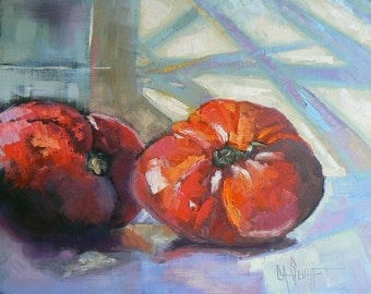 """Tomato Painting,  Food Painting, """"Home Grown Tomatoes"""", 8x10"""" Oil Still Life"""