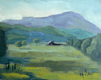 "Mountain Landscape, Farm Painting,  Daily Painting, 6x8"" OOAK, ""Mountain Home"", Painting On Sale"