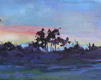 """Tropical  Sunset Painting,  Daily Painting, 6x18 Landscape  Painting , Florida Painting,""""As Evening Fell"""""""