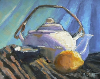 """Daily Painting, TeaPOT Still Life, """"Teapot with Stripes"""" BY Carol Schiff,6x8"""" Oil Original,"""